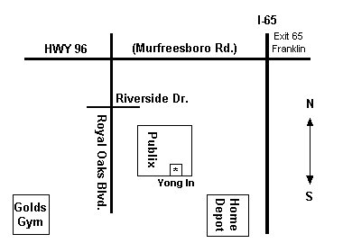 Map for Franklin TN location of Yong In Martial Arts Academy